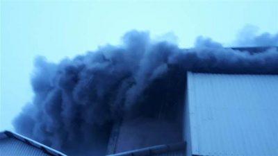 Çay fabrikasında yangın